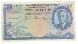 2 dollár Brit-Karib terület 1951 Ritka!