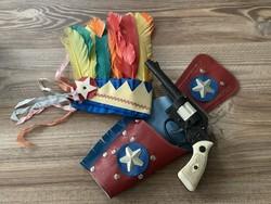 Retró játék indián tolldísz cowboy kapszlis pisztoly trafikáru