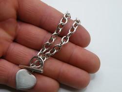 KK1198 T bar kapcsos ezüst karlánc fémjelzett 925 szív medál