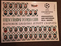 23 EREDETI ALÁÍRÁS!! 1994-95 Ferencváros labdarúgó csapata. Bajnok ligájaja csoport kör! FTC, Fradi
