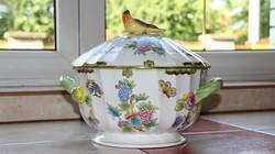 Herendi Viktória 12 személyes leveses tál madárfogóval