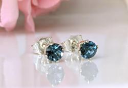 Kék London Topáz fülbevaló 925 ezüst beszúrós, drágakő ékszer ajándékdobozban, ásvány fülbevaló