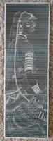 Régi indiai nőalakos kerámia falikép falidísz, Gokhale jelzéssel