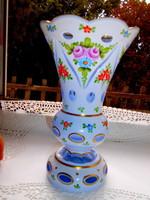 Überfrangos csiszolt,kézzel festett váza