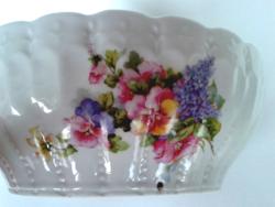 Régi tál falidísz tavaszi virágos komatál orgona árvácska mintás porcelán népi falitál
