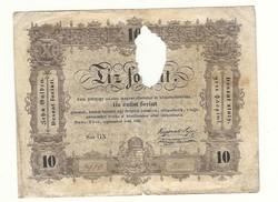1848 as 10 forint Kossuth bankó papírpénz bankjegy 1848 szabadságharc pénze némiképp viharvert