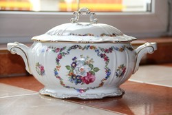 Zsolnay virágos levesestál