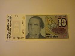 Unc  10 Australes  Argentína 1985 - 1989 !!