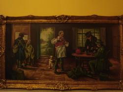 Szignós Olaj festmény nagyméretű 120 x 60 cm .