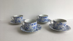 Régi, Drasche kék virágos 4db teás csésze+alj