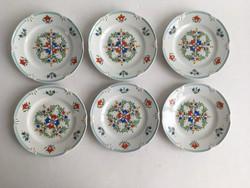 Drasche, Kőbányai Porcelángyár kézzel festett, aranyozott 6db kistányér, süteményes tányér