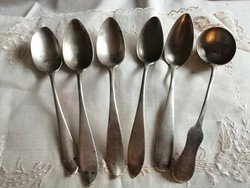 4 antik ezüst 1 ezüst kanál + 1 merőkanál 326 gram