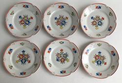 Drasche, Kőbányai Porcelángyár kézzel festett, 6db kistányér, süteményes tányér, 1959.