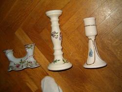 3 db új előkelő gyertyatartó nagyon szép minta porcelán vagy porcelánnak tartom