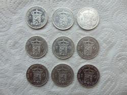 Hollandia 9 darab ezüst 1 gulden 9 x 10 gramm ezüst érmék