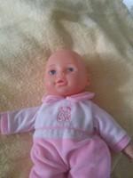 E 101. Nagyon régi   cuki beszélő baba  textil testtel  26 cm
