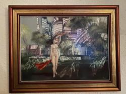 Herpai Zoltán Menekülés a városból című festménye