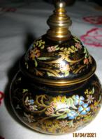 Régi parfüm tartó kézzel festett porcelán parfümös  tégely