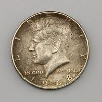 Fél dollár USA, Kennedy Fél dollár 1968 ezüst , Kennedy Half Dollar USA 1968 Silver