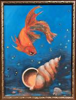 Aranyhal - akrilfestmény