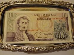 Unc 10 Pesos Kolumbia  1980  !!