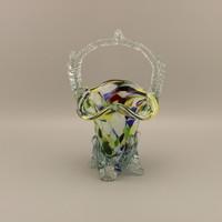 Vintage kristályüveg, kosár váza , asztalközép