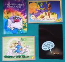 6 darab vicces szöveges képeslap,CARDEX,postatiszta