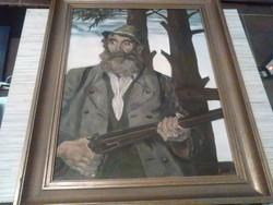 Az öreg vadász olaj festmény funérra festve.