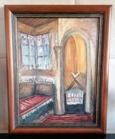Olajfestmény ismeretlen festőtől 37x46 cm keretben
