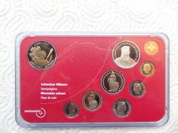 Svájc 9 darab érme sor 2001 PP !