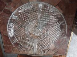Csiszolt, nagy ólomkristály kínáló/szervirozó tál, d: 30 cm