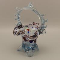 Vintage kristályüveg, kosár váza , asztalközép.