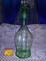 Régi halványzöld üveg karaffa, kiöntő, boros üveg
