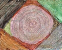 Kavalkád, 1997 - absztrakt festmény, hátoldalán ajánlással