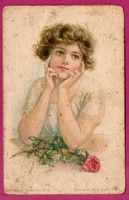 *E - 0019 - - - 1914  Ábrándos üdvözlet  (szép bérmentesítés)