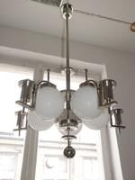 Art deco - Streamline - Bauhaus 5 karos, 10 égős nikkelezett csillár felújítva - Lampart