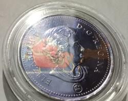 Canada 25 cent,  2011 - festett pénz télapó mintával! Ritka!!!