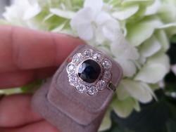 Zafíros - brilles antik fehér arany gyűrű