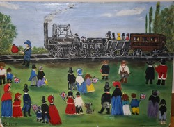 Naiv festmény, vasúttörténeti téma 1825-ből
