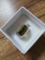 Csodaszép, fazettált, zöld köves, ezüst, pecsétgyűrű jellegű, gyűrű