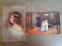 2 darab figurális képeslap együtt, imádkozó gyerekek, fiatal lány