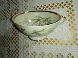 Porcelán vajszínű,virágos kávés csésze.