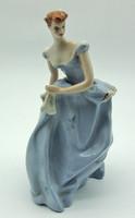 B476 Royal Dux kék ruhás hölgy - meseszép hibátlan gyűjtői darab