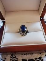 Eladó régi kézműves ezüst kék köves gyűrű!