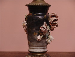 Kézzel festett antik francia dekoratív  fajansz petróleum lámpa
