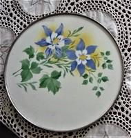 Antik  porcelán tortatál kék virágmintás, 28 cm átmérőjű