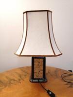 Olasz designer porcelán asztali lámpa parafa intarziával, nagyméretű, hibátlan, működő állapotban!