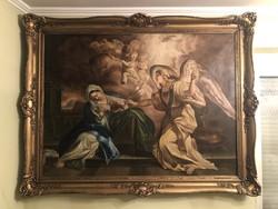 Kastély vagy villa berendezés, óriási, sokalakos barokk olaj-vászon festmény 134 x 172 cm