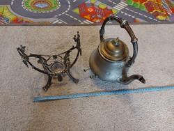 Antik Berndorf teáskanna, szecessziós stílusban, álvánnyal a spiritusznak...100 év körül jár
