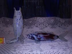 Retro üveg hal váza és hal dísztárgy - együtt